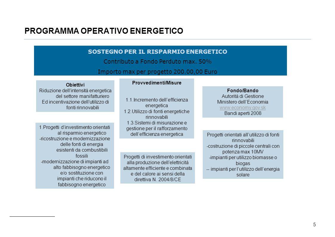 5 PROGRAMMA OPERATIVO ENERGETICO SOSTEGNO PER IL RISPARMIO ENERGETICO Contributo a Fondo Perduto max. 50% Importo max per progetto 200.00,00 Euro Prov