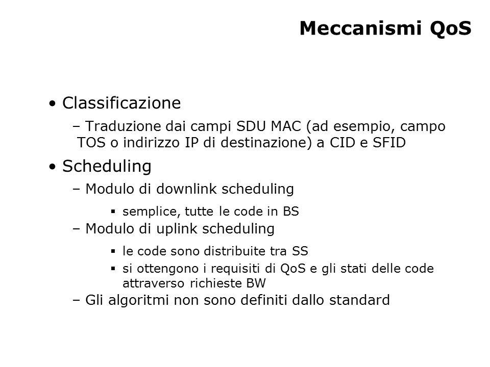 Meccanismi QoS Classificazione – Traduzione dai campi SDU MAC (ad esempio, campo TOS o indirizzo IP di destinazione) a CID e SFID Scheduling – Modulo