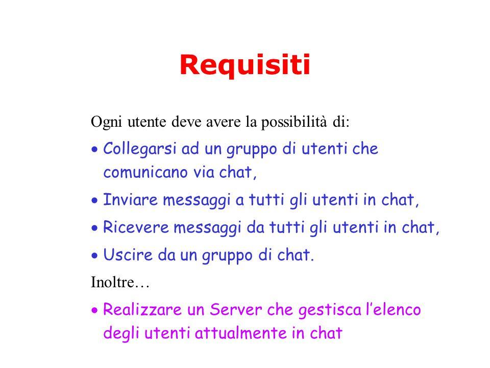 Requisiti Ogni utente deve avere la possibilità di:  Collegarsi ad un gruppo di utenti che comunicano via chat,  Inviare messaggi a tutti gli utenti in chat,  Ricevere messaggi da tutti gli utenti in chat,  Uscire da un gruppo di chat.