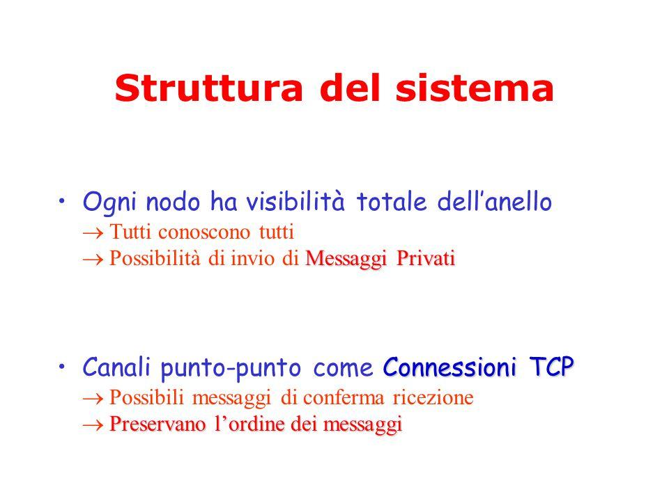 Struttura del sistema Messaggi PrivatiOgni nodo ha visibilità totale dell'anello  Tutti conoscono tutti  Possibilità di invio di Messaggi Privati Connessioni TCP Preservano l'ordine dei messaggiCanali punto-punto come Connessioni TCP  Possibili messaggi di conferma ricezione  Preservano l'ordine dei messaggi