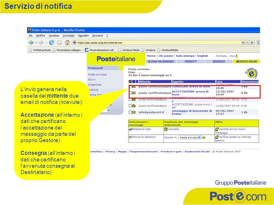 L'invio genera nella casella del mittente due email di notifica (ricevute): Accettazione (all'interno i dati che certificano l'accettazione del messag