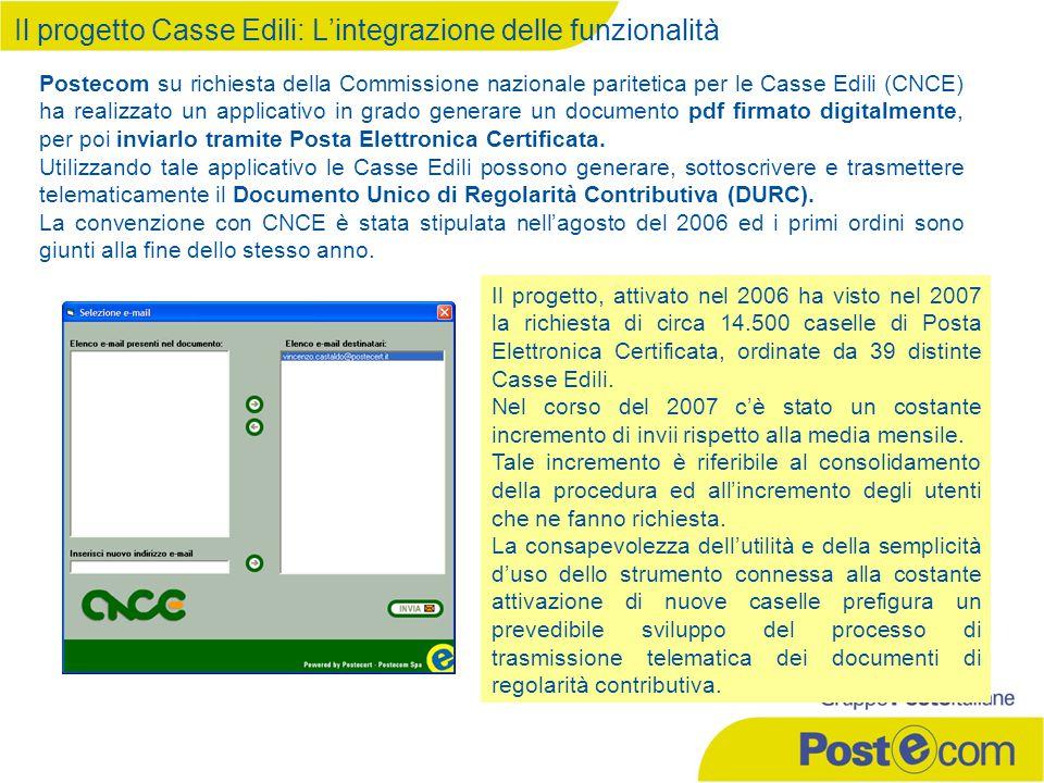 Il progetto Casse Edili: L'integrazione delle funzionalità Postecom su richiesta della Commissione nazionale paritetica per le Casse Edili (CNCE) ha realizzato un applicativo in grado generare un documento pdf firmato digitalmente, per poi inviarlo tramite Posta Elettronica Certificata.