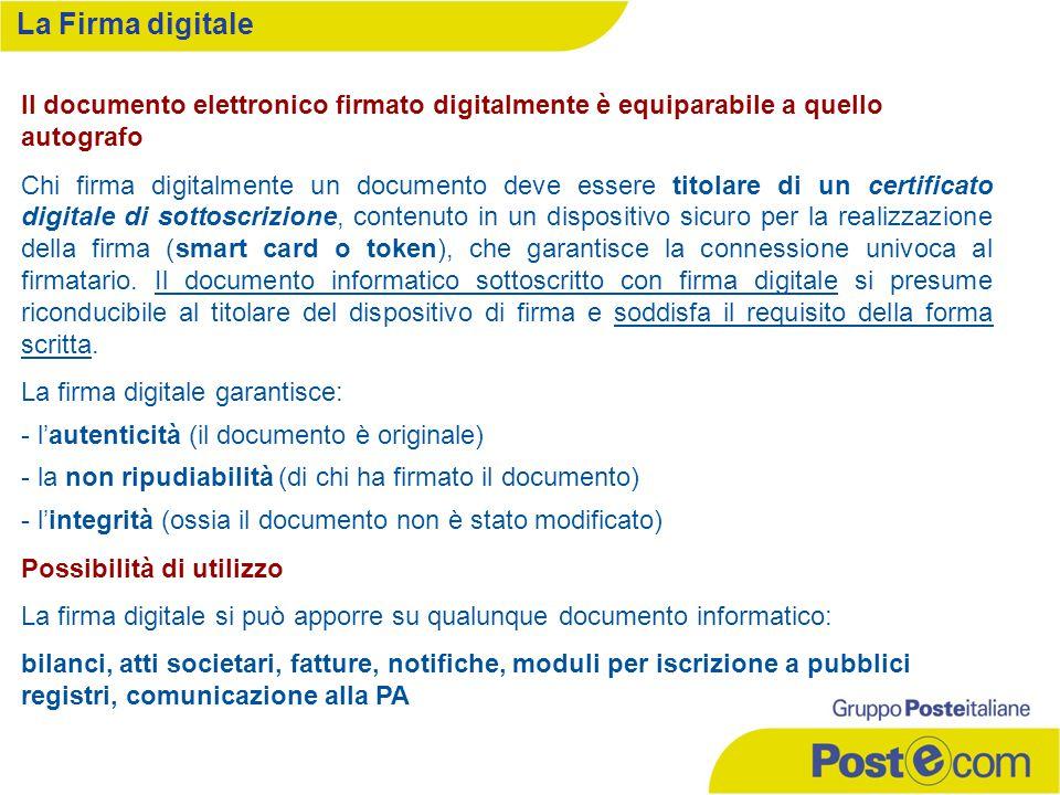 Il documento elettronico firmato digitalmente è equiparabile a quello autografo Chi firma digitalmente un documento deve essere titolare di un certifi
