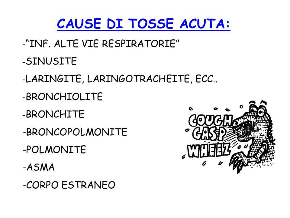 """CAUSE DI TOSSE ACUTA: - """"INF. ALTE VIE RESPIRATORIE"""" - SINUSITE - LARINGITE, LARINGOTRACHEITE, ECC.. - BRONCHIOLITE - BRONCHITE -BRONCOPOLMONITE -POLM"""