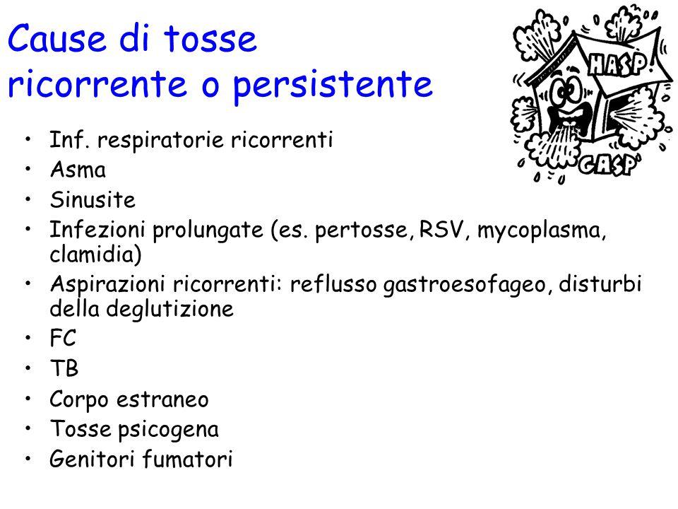 Cause di tosse ricorrente o persistente Inf. respiratorie ricorrenti Asma Sinusite Infezioni prolungate (es. pertosse, RSV, mycoplasma, clamidia) Aspi