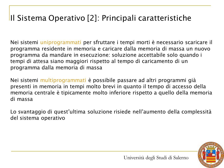 Università degli Studi di Salerno Nei sistemi uniprogrammati per sfruttare i tempi morti è necessario scaricare il programma residente in memoria e ca