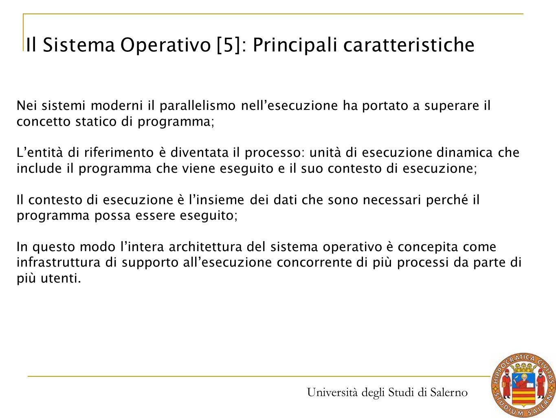 Università degli Studi di Salerno Nei sistemi moderni il parallelismo nell'esecuzione ha portato a superare il concetto statico di programma; L'entità