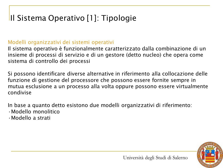 Università degli Studi di Salerno Modelli organizzativi dei sistemi operativi Il sistema operativo è funzionalmente caratterizzato dalla combinazione