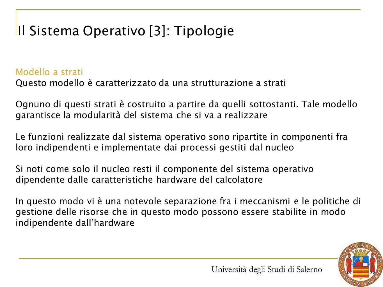 Università degli Studi di Salerno Modello a strati Questo modello è caratterizzato da una strutturazione a strati Ognuno di questi strati è costruito