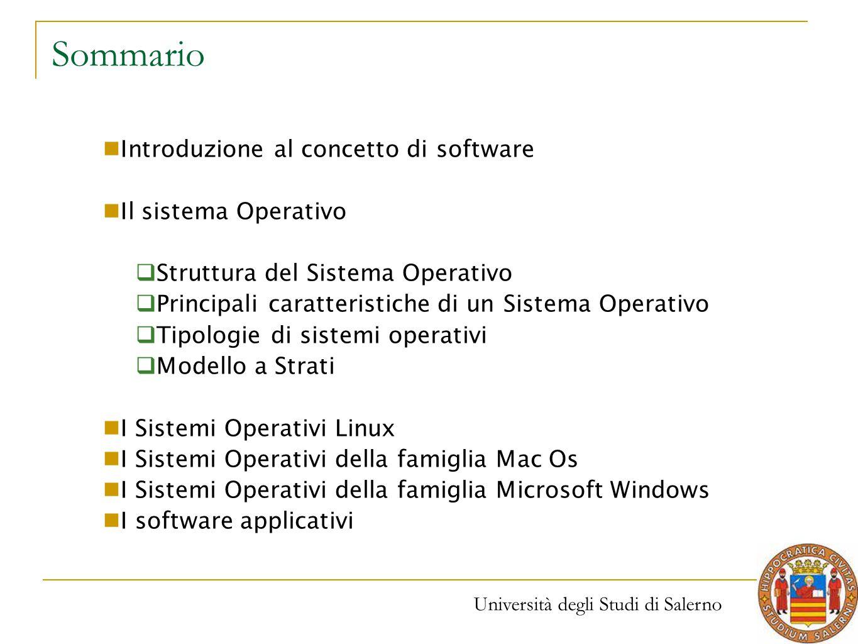 Università degli Studi di Salerno Sommario Introduzione al concetto di software Il sistema Operativo  Struttura del Sistema Operativo  Principali ca