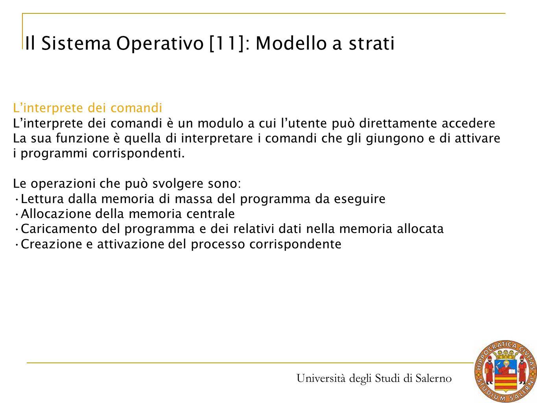Università degli Studi di Salerno L'interprete dei comandi L'interprete dei comandi è un modulo a cui l'utente può direttamente accedere La sua funzio