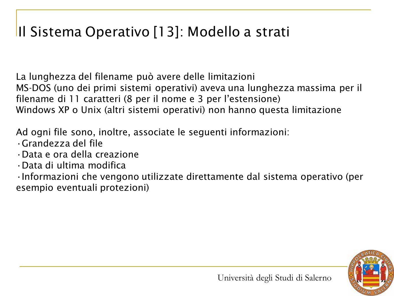 Università degli Studi di Salerno La lunghezza del filename può avere delle limitazioni MS-DOS (uno dei primi sistemi operativi) aveva una lunghezza m