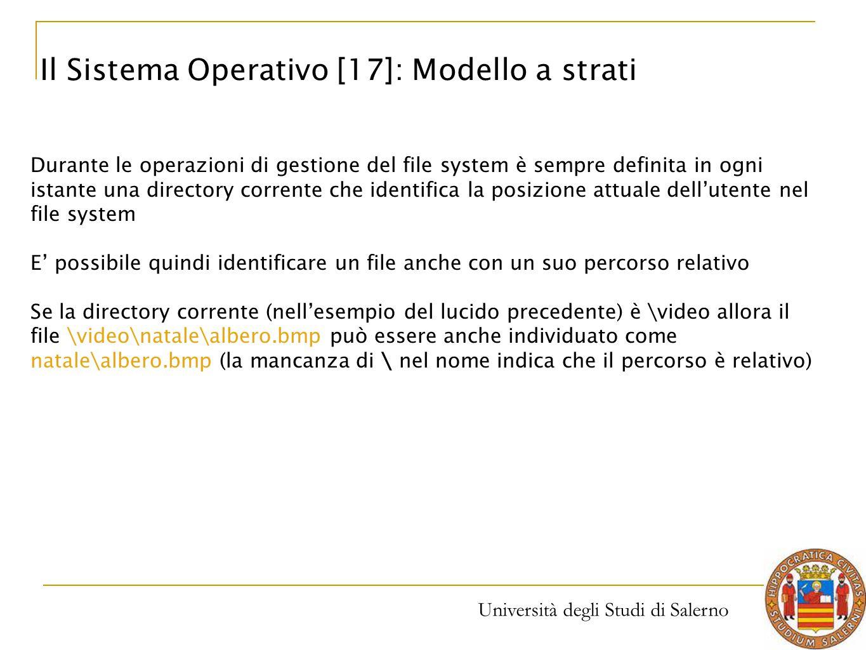 Università degli Studi di Salerno Durante le operazioni di gestione del file system è sempre definita in ogni istante una directory corrente che ident