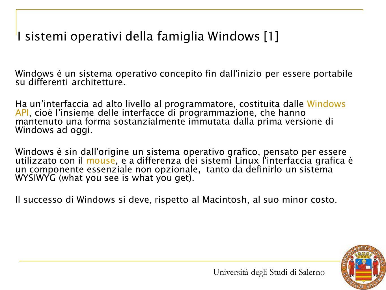 Università degli Studi di Salerno Windows è un sistema operativo concepito fin dall'inizio per essere portabile su differenti architetture. Ha un'inte