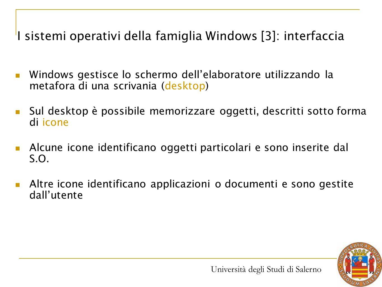 Università degli Studi di Salerno Windows gestisce lo schermo dell'elaboratore utilizzando la metafora di una scrivania (desktop) Sul desktop è possib