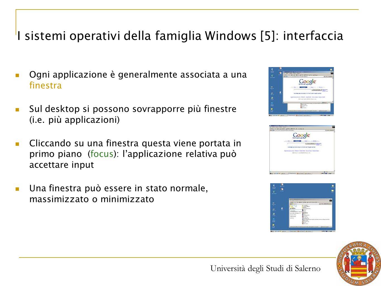 Università degli Studi di Salerno Ogni applicazione è generalmente associata a una finestra Sul desktop si possono sovrapporre più finestre (i.e. più