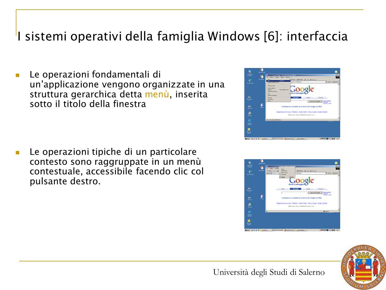 Università degli Studi di Salerno Le operazioni fondamentali di un'applicazione vengono organizzate in una struttura gerarchica detta menù, inserita s