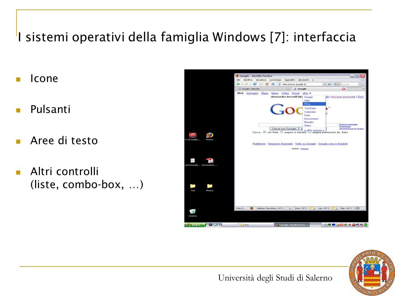 Università degli Studi di Salerno Icone Pulsanti Aree di testo Altri controlli (liste, combo-box, …) I sistemi operativi della famiglia Windows [7]: i