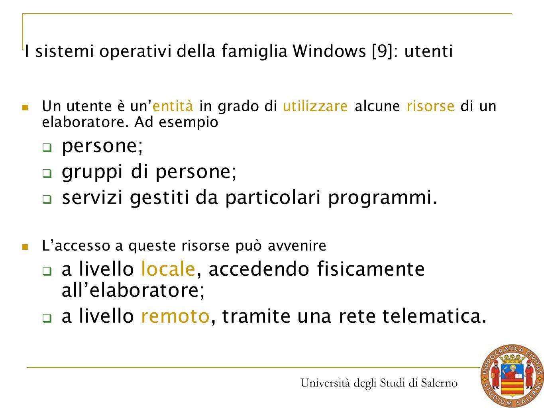 Università degli Studi di Salerno Un utente è un'entità in grado di utilizzare alcune risorse di un elaboratore. Ad esempio  persone;  gruppi di per
