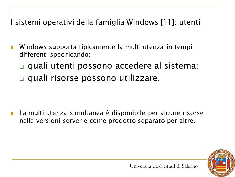 Università degli Studi di Salerno Windows supporta tipicamente la multi-utenza in tempi differenti specificando:  quali utenti possono accedere al si