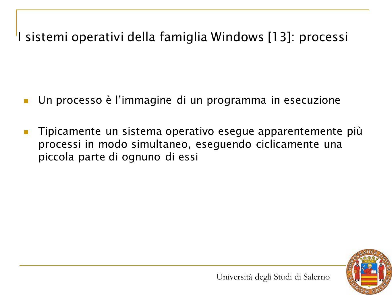 Università degli Studi di Salerno Un processo è l'immagine di un programma in esecuzione Tipicamente un sistema operativo esegue apparentemente più pr