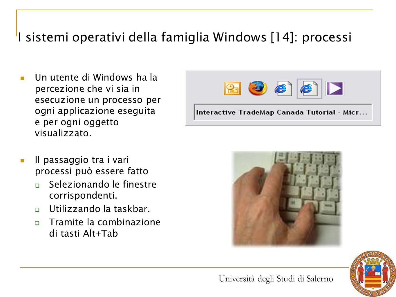 Università degli Studi di Salerno Un utente di Windows ha la percezione che vi sia in esecuzione un processo per ogni applicazione eseguita e per ogni
