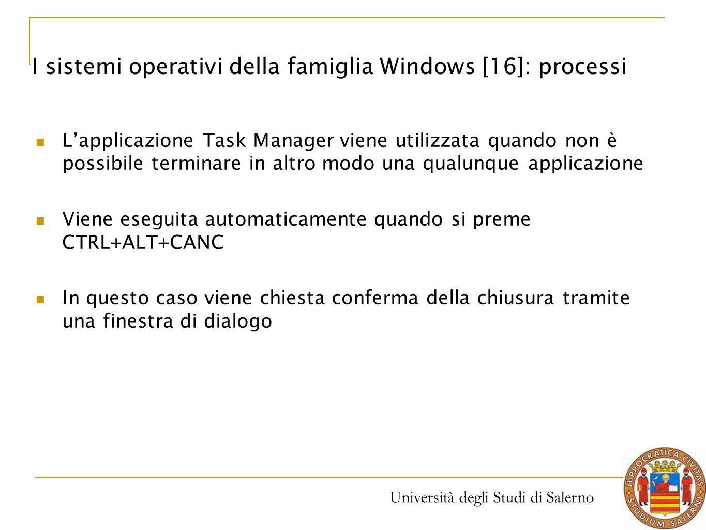 Università degli Studi di Salerno L'applicazione Task Manager viene utilizzata quando non è possibile terminare in altro modo una qualunque applicazio