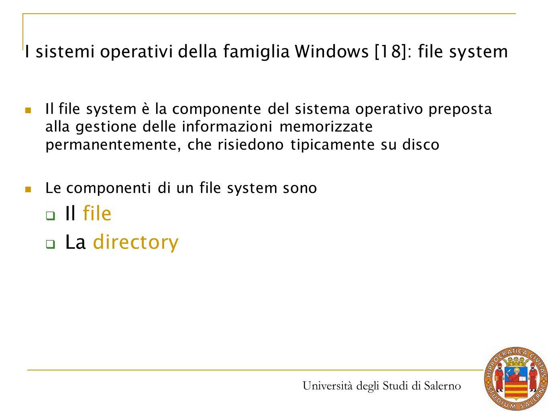 Università degli Studi di Salerno Il file system è la componente del sistema operativo preposta alla gestione delle informazioni memorizzate permanent