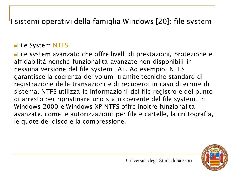 Università degli Studi di Salerno I sistemi operativi della famiglia Windows [20]: file system File System NTFS File system avanzato che offre livelli
