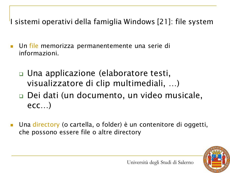 Università degli Studi di Salerno Un file memorizza permanentemente una serie di informazioni.  Una applicazione (elaboratore testi, visualizzatore d