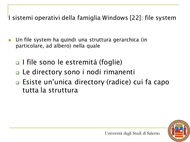 Università degli Studi di Salerno Un file system ha quindi una struttura gerarchica (in particolare, ad albero) nella quale  I file sono le estremità