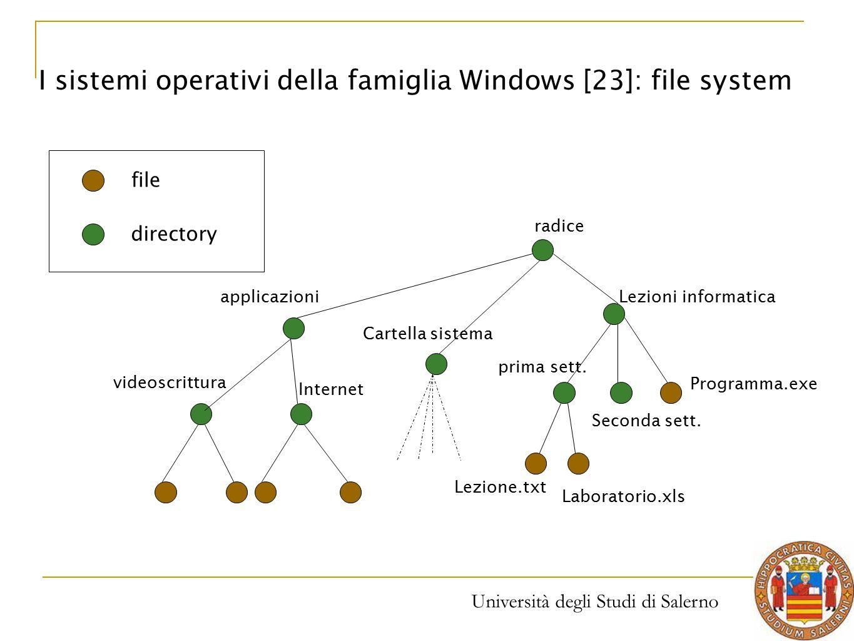 Università degli Studi di Salerno radice applicazioni videoscrittura Internet Cartella sistema Lezioni informatica prima sett. Seconda sett. Lezione.t