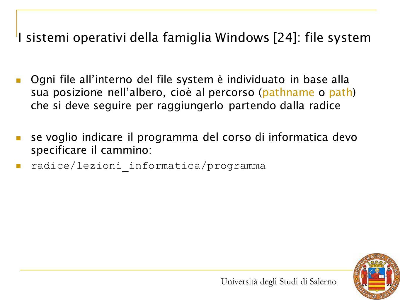 Università degli Studi di Salerno Ogni file all'interno del file system è individuato in base alla sua posizione nell'albero, cioè al percorso (pathna