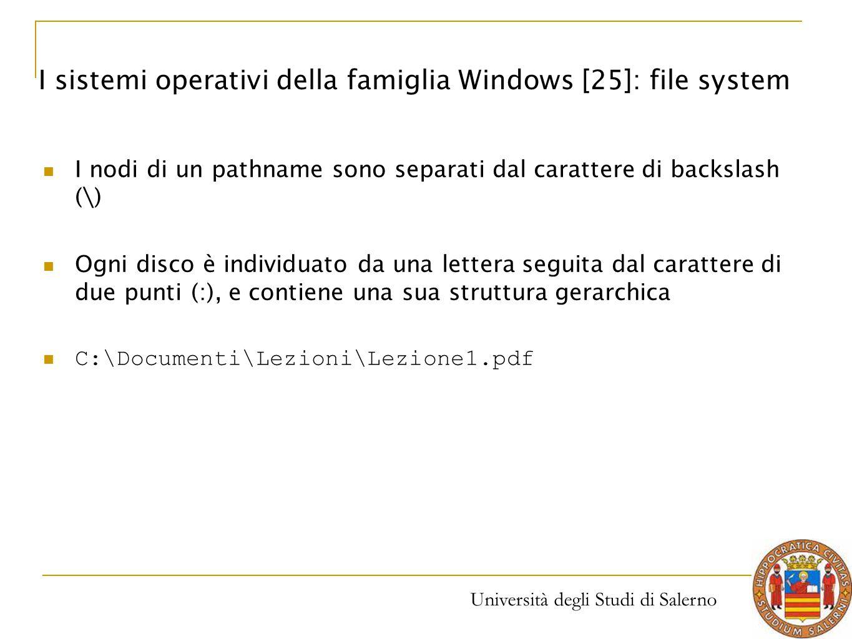Università degli Studi di Salerno I nodi di un pathname sono separati dal carattere di backslash (\) Ogni disco è individuato da una lettera seguita d