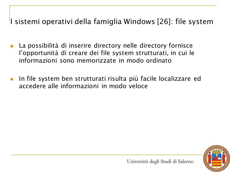 Università degli Studi di Salerno La possibilità di inserire directory nelle directory fornisce l'opportunità di creare dei file system strutturati, i