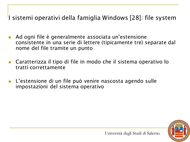 Università degli Studi di Salerno Ad ogni file è generalmente associata un'estensione consistente in una serie di lettere (tipicamente tre) separate d