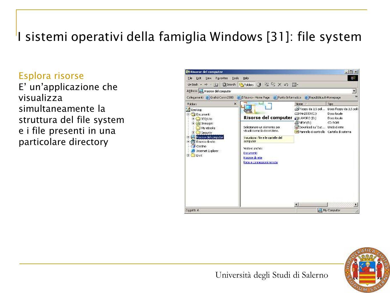 Università degli Studi di Salerno I sistemi operativi della famiglia Windows [31]: file system Esplora risorse E' un'applicazione che visualizza simul