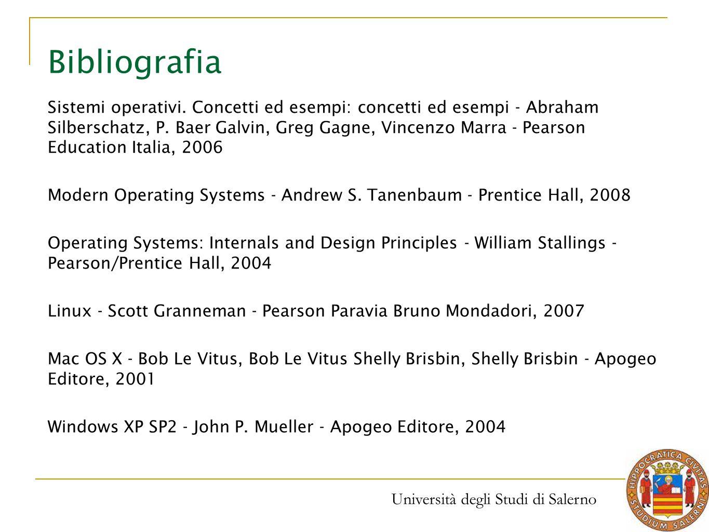 Università degli Studi di Salerno Bibliografia Sistemi operativi. Concetti ed esempi: concetti ed esempi - Abraham Silberschatz, P. Baer Galvin, Greg