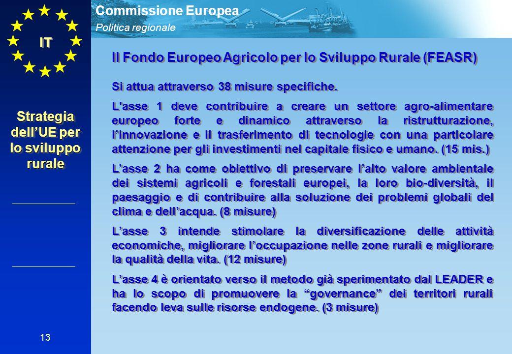 Politica regionale Commissione Europea 13 IT Il Fondo Europeo Agricolo per lo Sviluppo Rurale (FEASR) Si attua attraverso 38 misure specifiche.