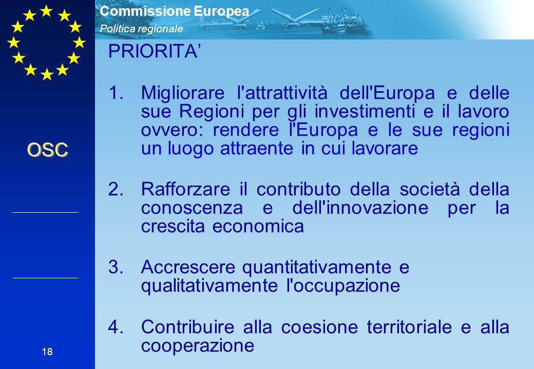 Politica regionale Commissione Europea 18 PRIORITA' 1.Migliorare l'attrattività dell'Europa e delle sue Regioni per gli investimenti e il lavoro ovver