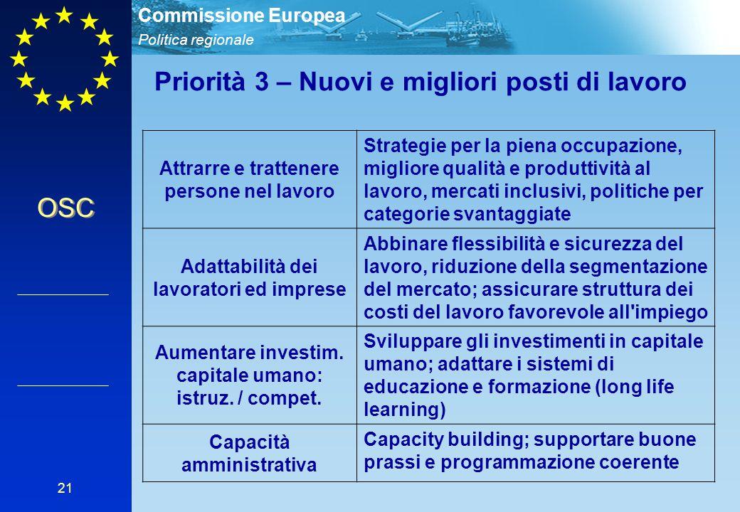 Politica regionale Commissione Europea 21 Attrarre e trattenere persone nel lavoro Strategie per la piena occupazione, migliore qualità e produttività