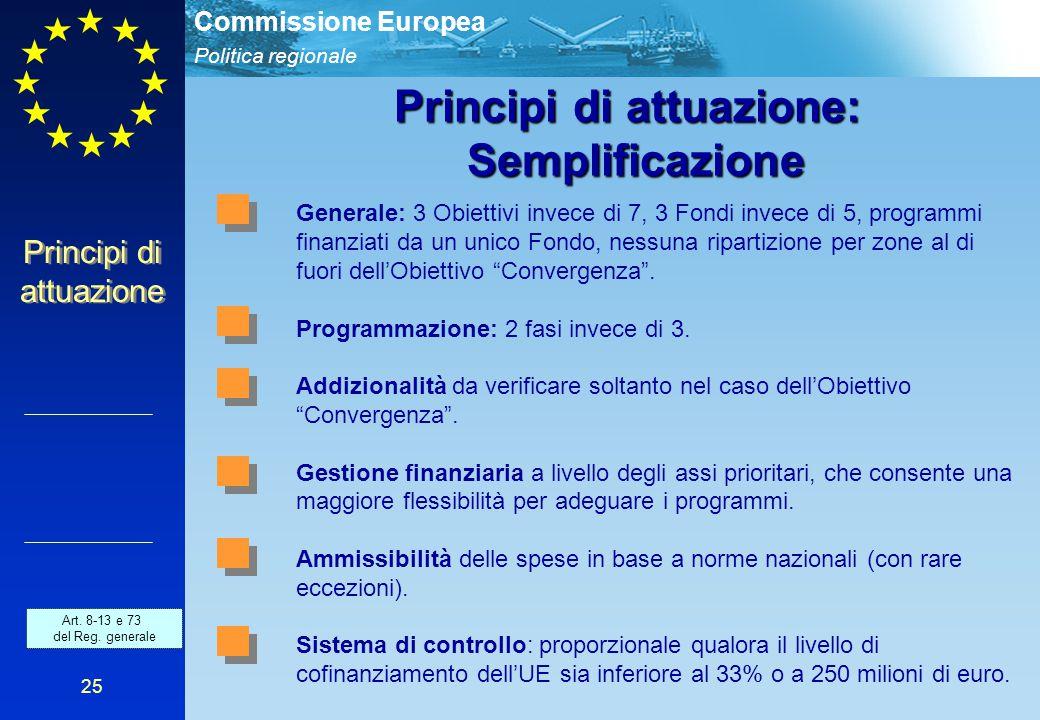 Politica regionale Commissione Europea 25 Principi di attuazione: Semplificazione Generale: 3 Obiettivi invece di 7, 3 Fondi invece di 5, programmi finanziati da un unico Fondo, nessuna ripartizione per zone al di fuori dell'Obiettivo Convergenza .