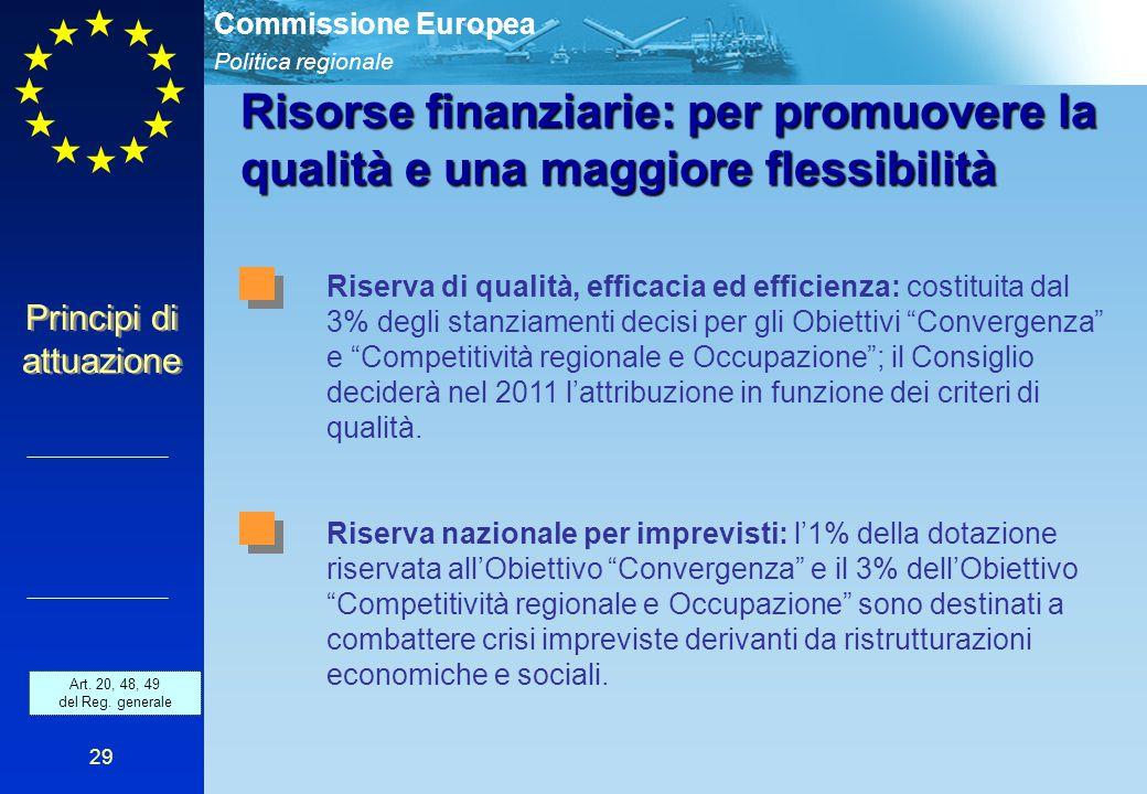 Politica regionale Commissione Europea 29 Risorse finanziarie: per promuovere la qualità e una maggiore flessibilità Riserva di qualità, efficacia ed efficienza: costituita dal 3% degli stanziamenti decisi per gli Obiettivi Convergenza e Competitività regionale e Occupazione ; il Consiglio deciderà nel 2011 l'attribuzione in funzione dei criteri di qualità.