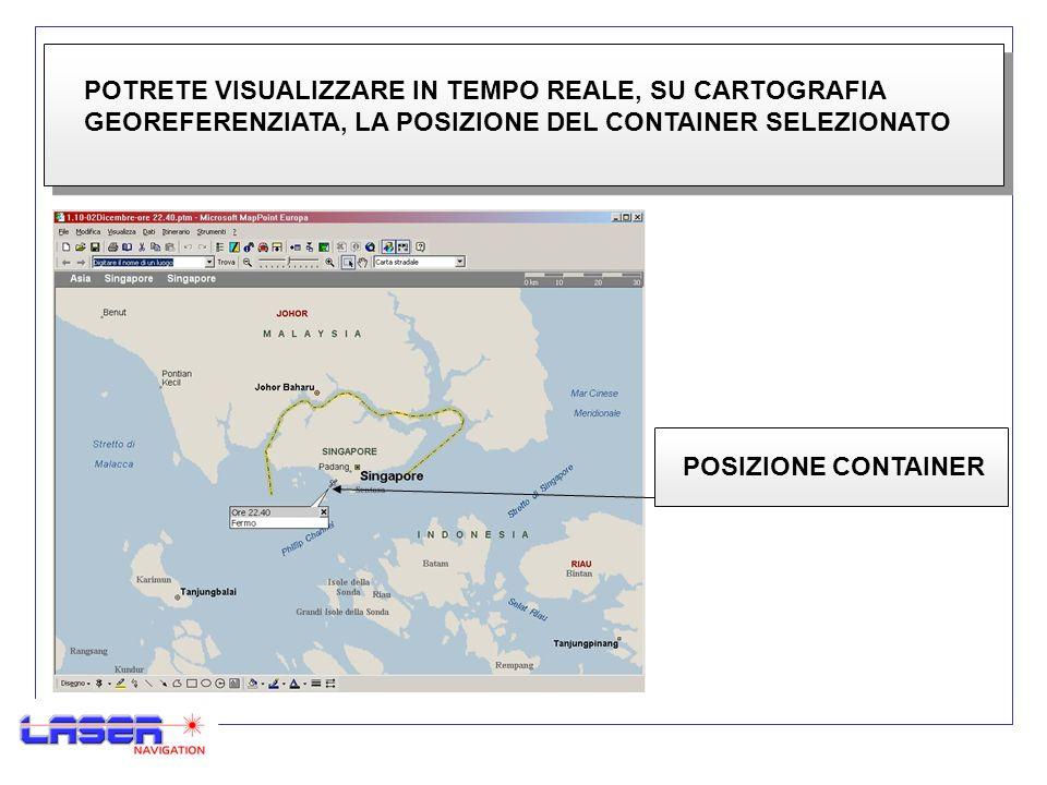 POTRETE VISUALIZZARE IN TEMPO REALE, SU CARTOGRAFIA GEOREFERENZIATA, LA POSIZIONE DEL CONTAINER SELEZIONATO POSIZIONE CONTAINER