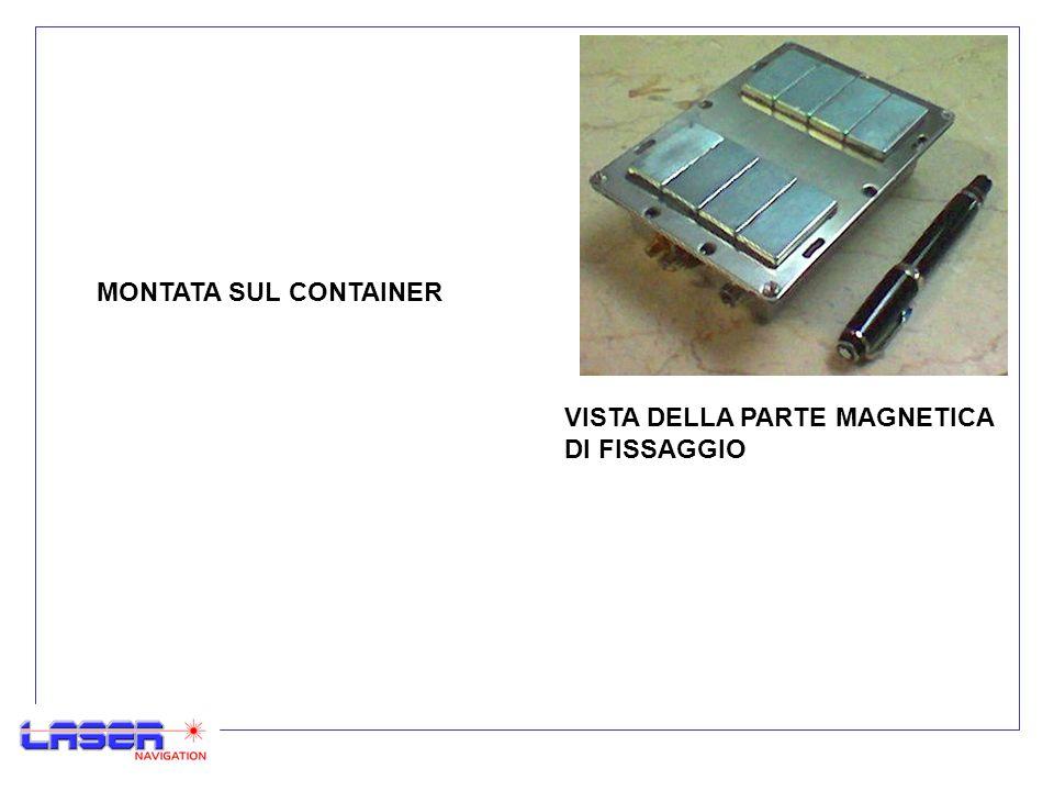 VISTA DELLA PARTE MAGNETICA DI FISSAGGIO MONTATA SUL CONTAINER