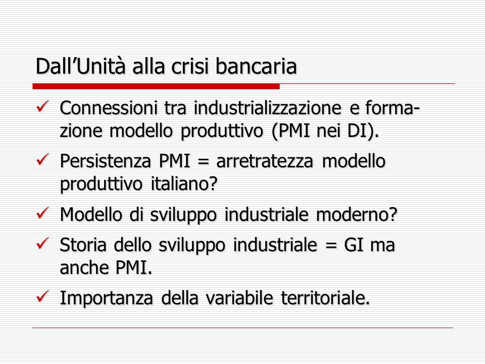 Dall'Unità alla crisi bancaria Connessioni tra industrializzazione e forma- zione modello produttivo (PMI nei DI). Connessioni tra industrializzazione