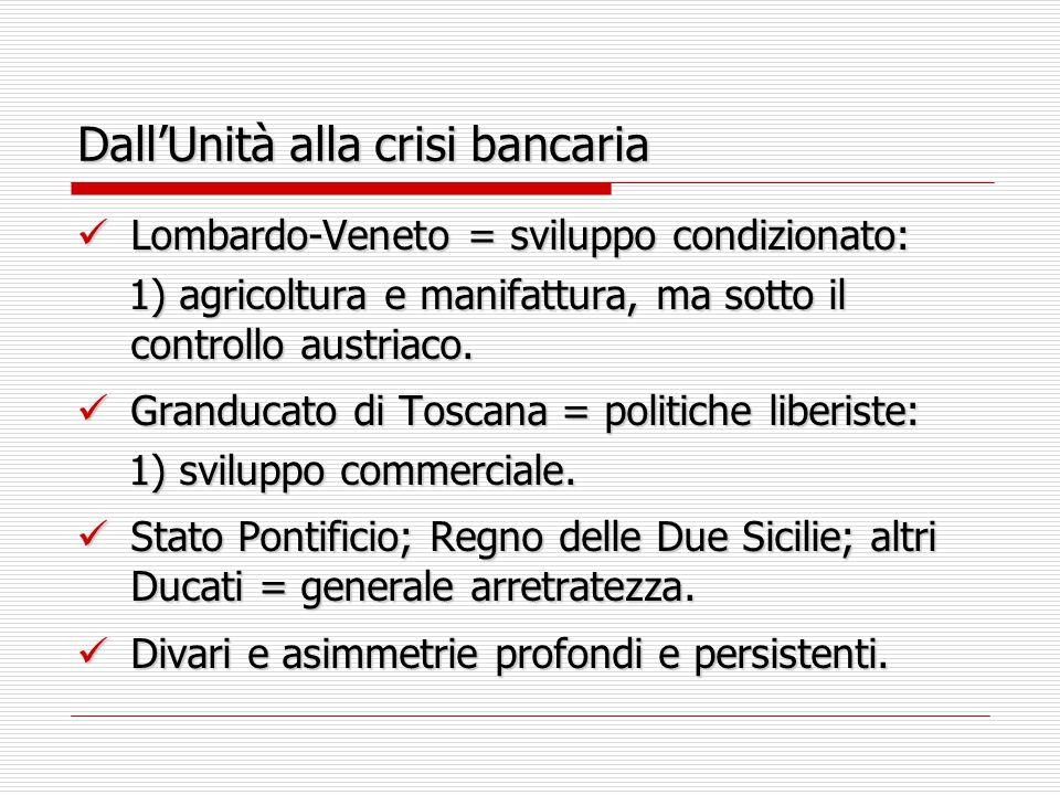 Dall'Unità alla crisi bancaria Lombardo-Veneto = sviluppo condizionato: Lombardo-Veneto = sviluppo condizionato: 1) agricoltura e manifattura, ma sotto il controllo austriaco.