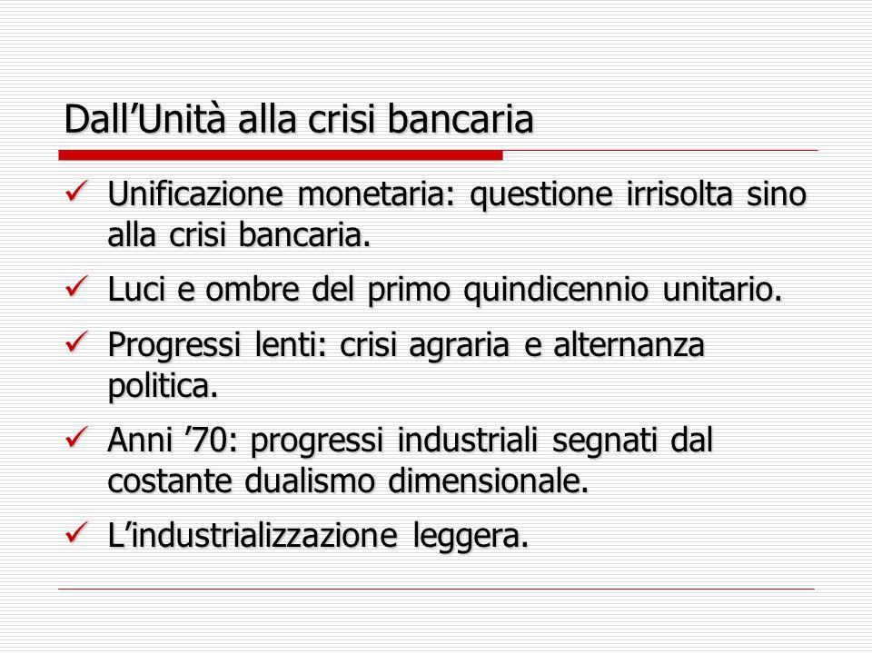 Dall'Unità alla crisi bancaria Unificazione monetaria: questione irrisolta sino alla crisi bancaria.