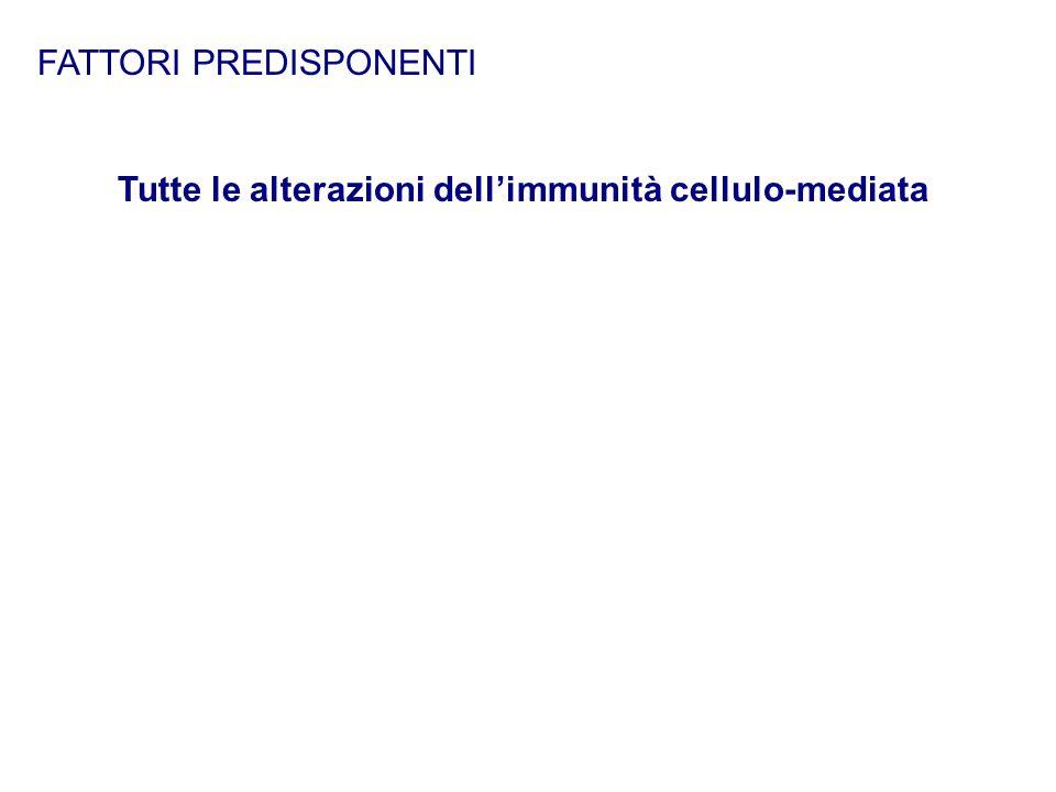 FATTORI PREDISPONENTI Tutte le alterazioni dell'immunità cellulo-mediata