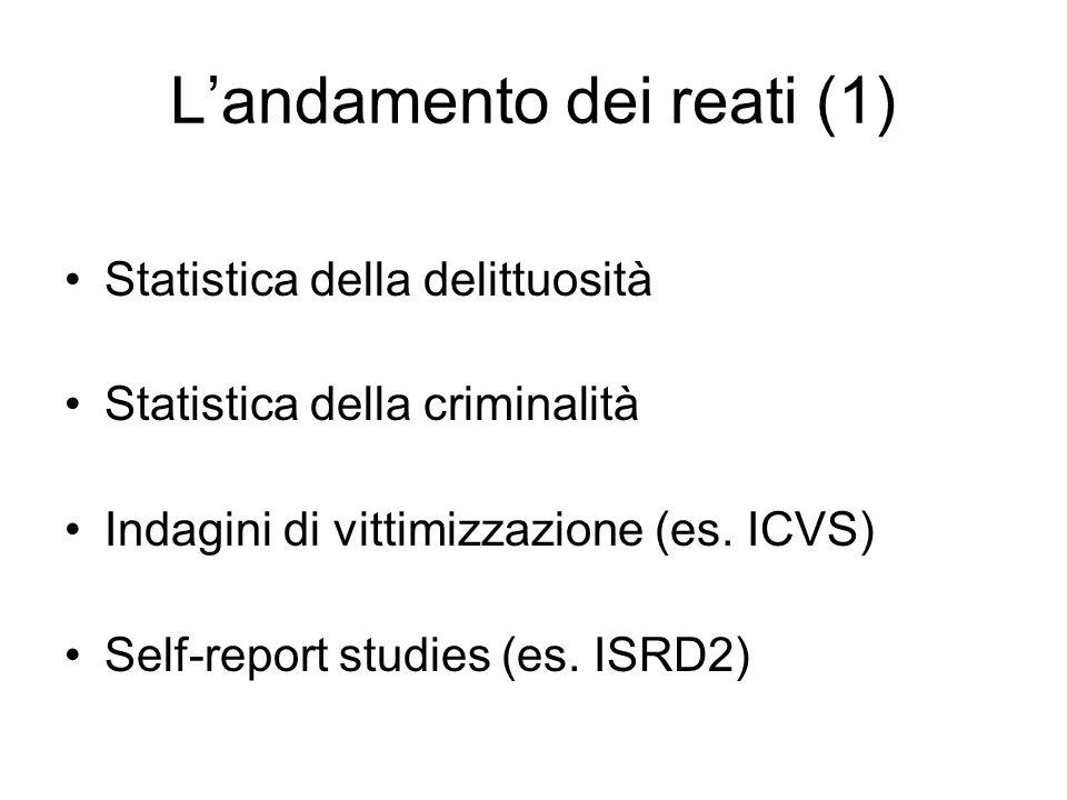 L'andamento dei reati (1) Statistica della delittuosità Statistica della criminalità Indagini di vittimizzazione (es.